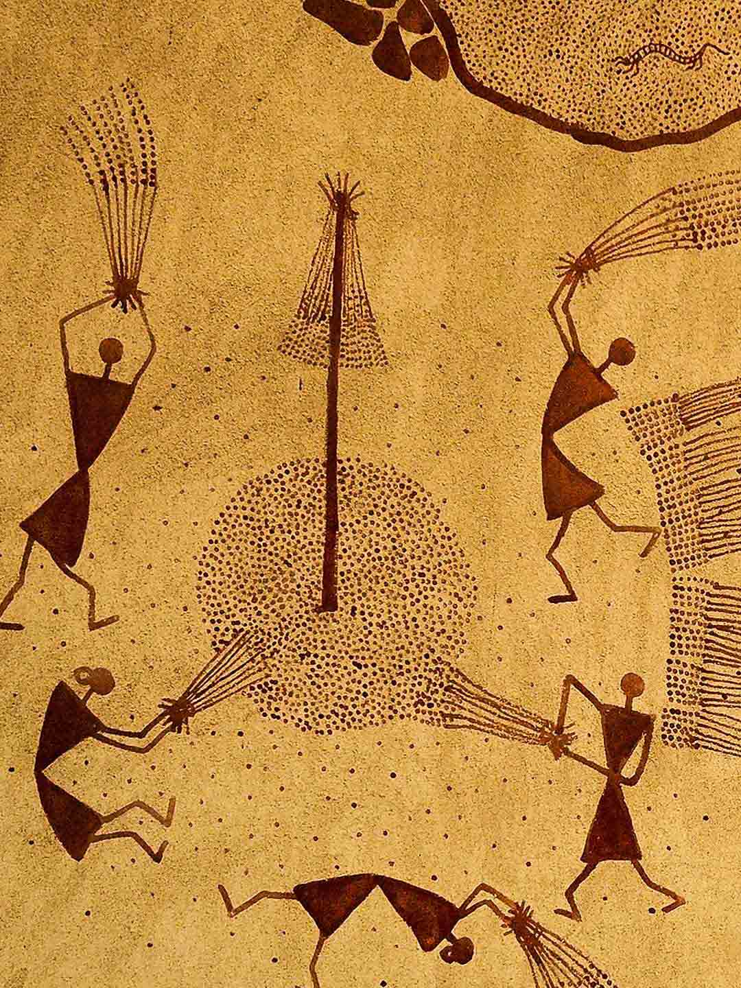Detail of Warli Painting at the Crafts Museum, Delhi