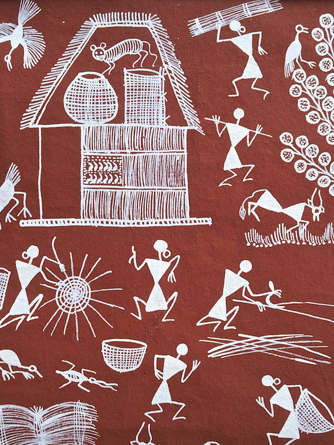 Warli painting of a Mouse Stealing Food