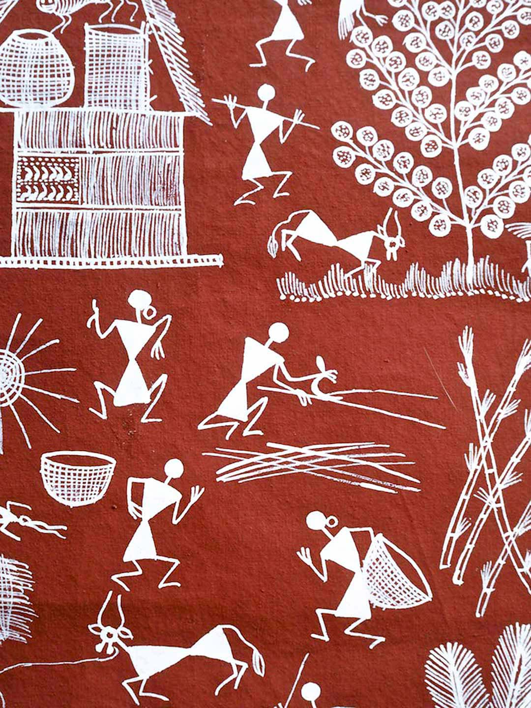 Warli Painting on Reddish-brown Background