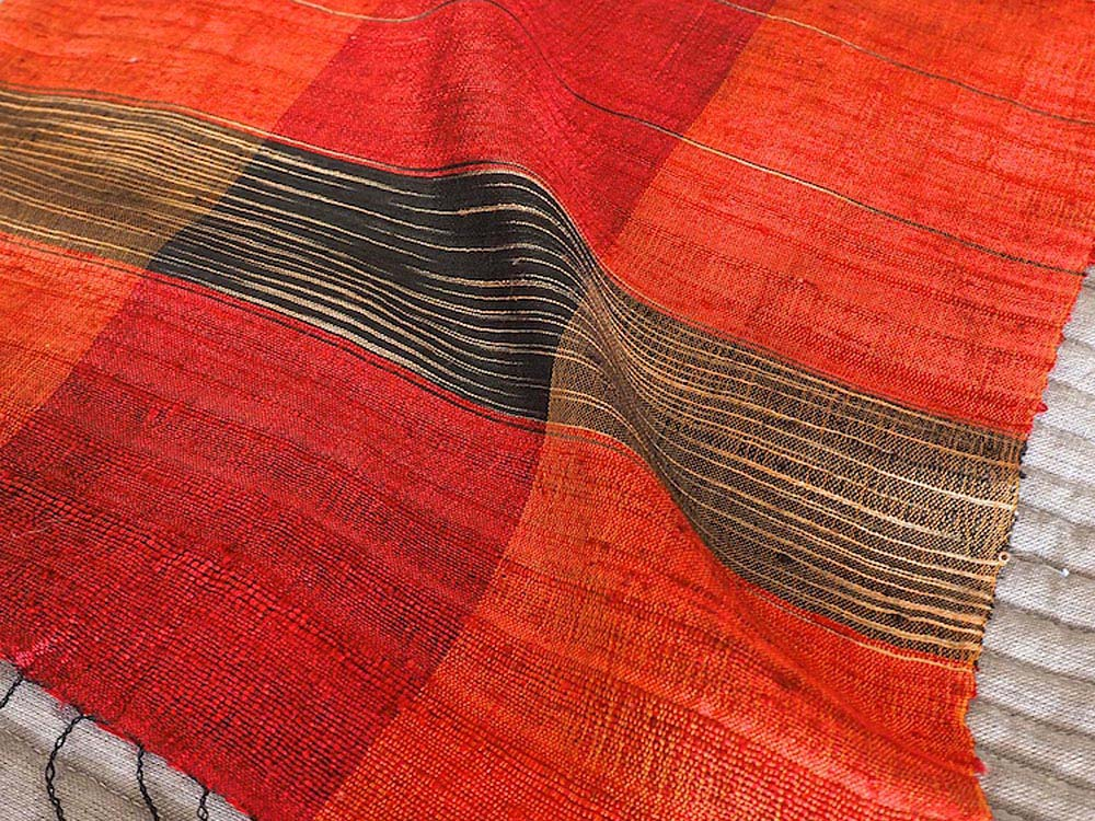 Red Raw Silk Scarf