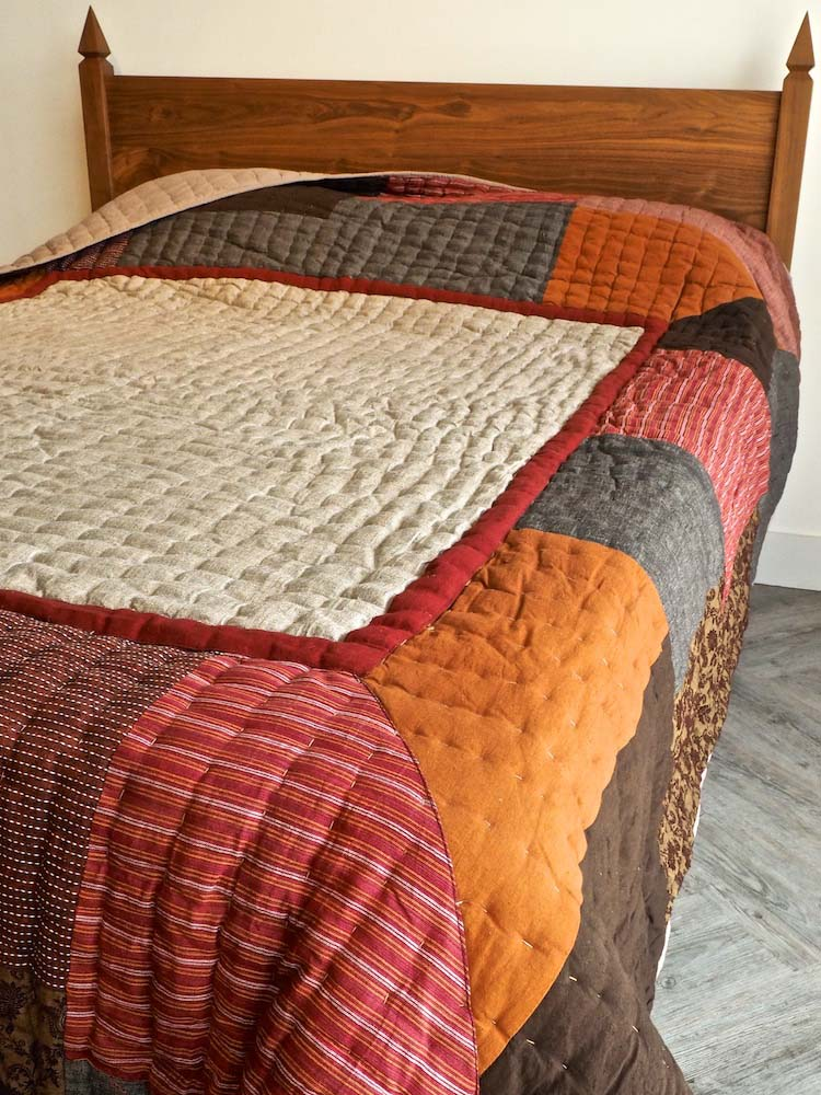 Autumn Quilted Indian Bedspread