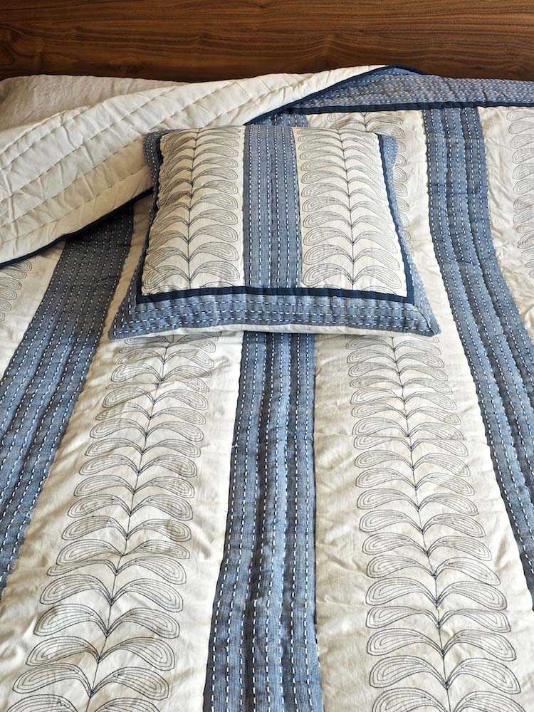 Blue Stitch Indian Quilted Bedspread