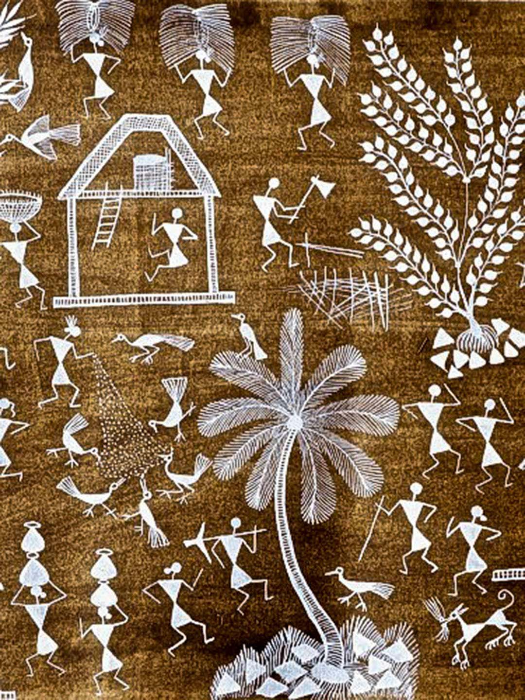 Warli Painting on Brown Background