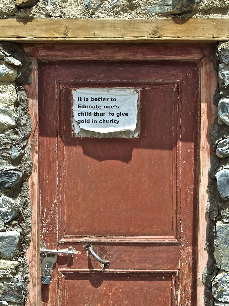 sign on the door at dat, ladakh