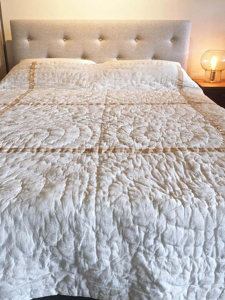Ivory & Gold Quilted Indian Bedspread