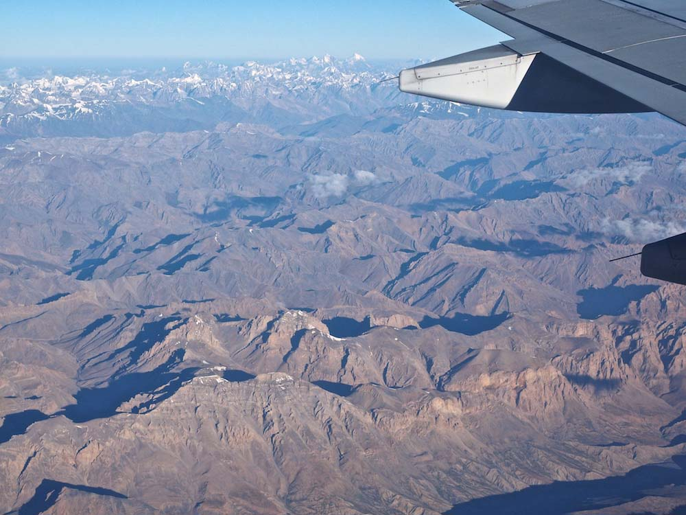 Flying over Ladakh, the seemingly uniform brown landscape is actually full of colour.