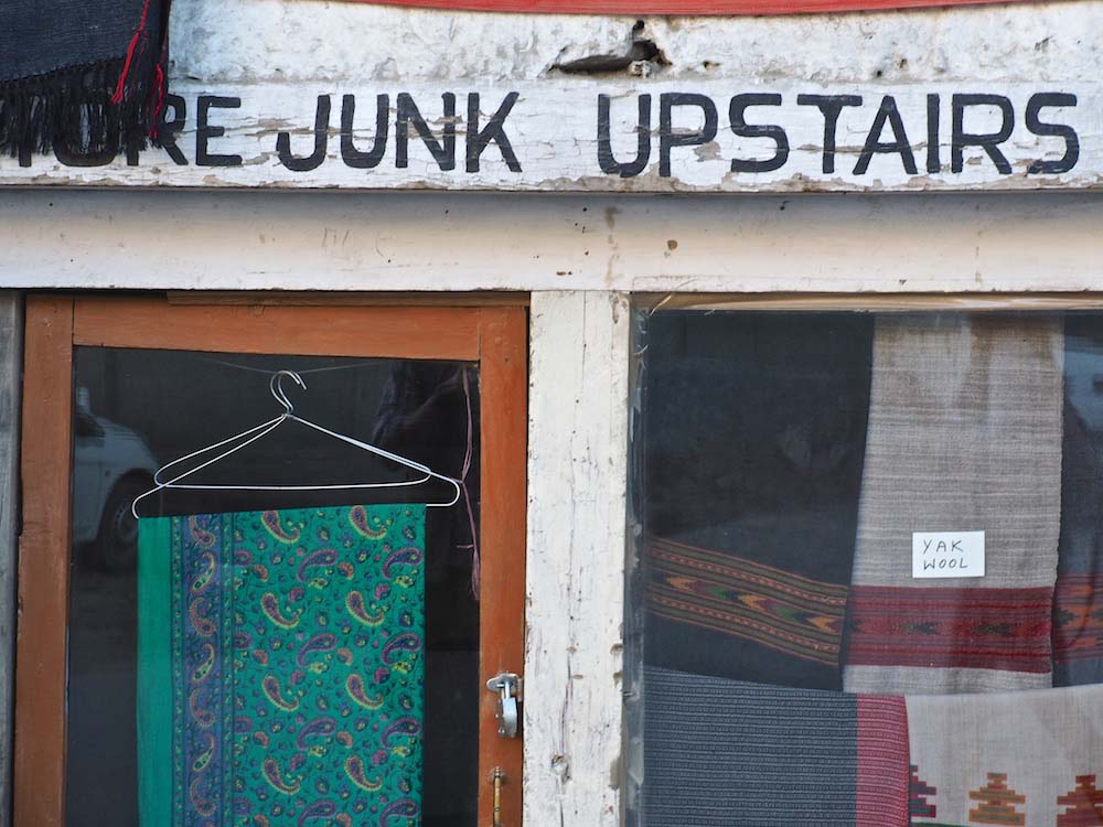 Leh shop signs, More Junk Upstairs