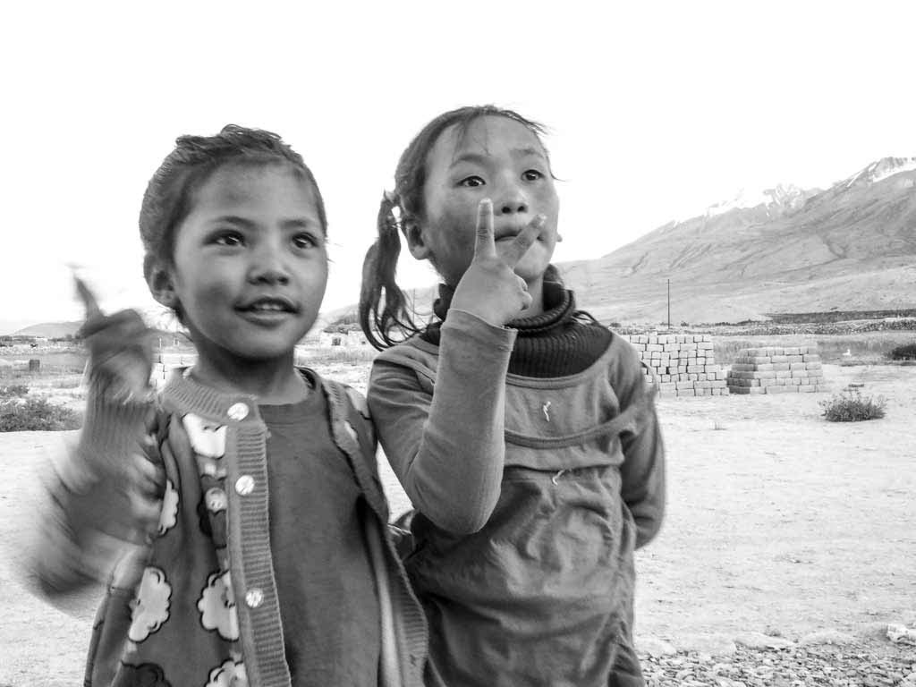The girls at our homestay, Merak, Pangong Tso
