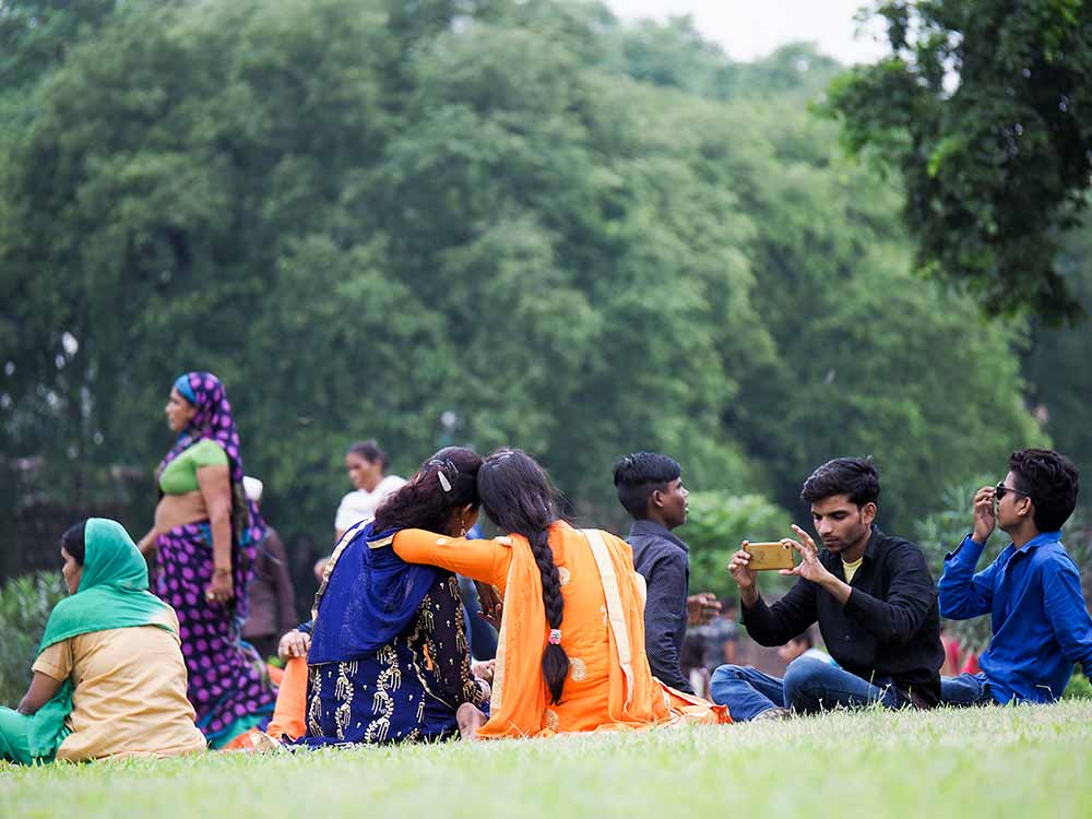 Sitting in the park, Delhi