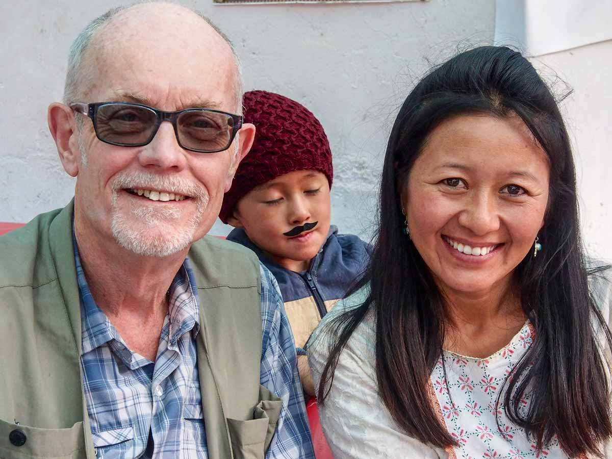 With Tsering and her son near Gyal