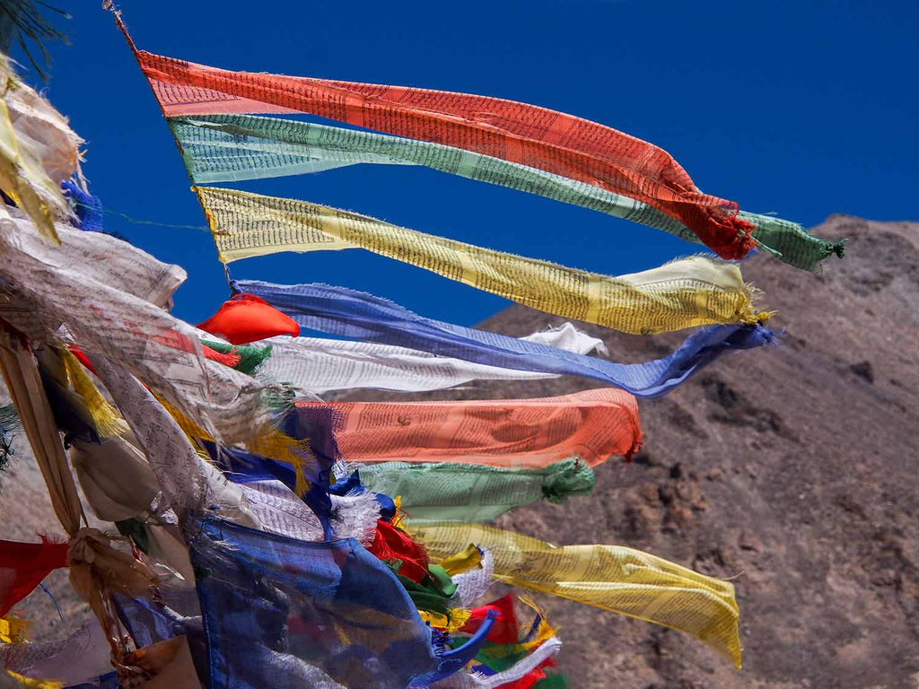 Prayer flags on the 4970m Polokongka La between Tso Kar and Tso Moriri