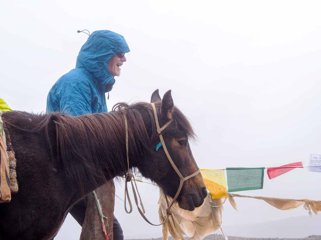 Summit, Pete, prayer flags and horse