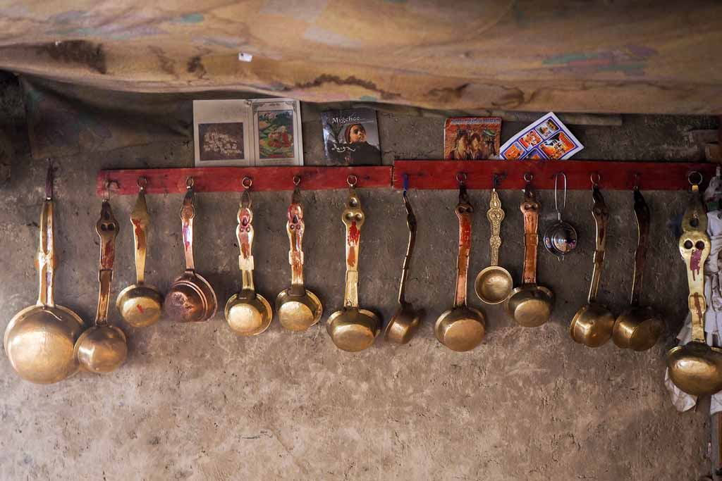 Copper & Brass Ladles in a house in Nierak