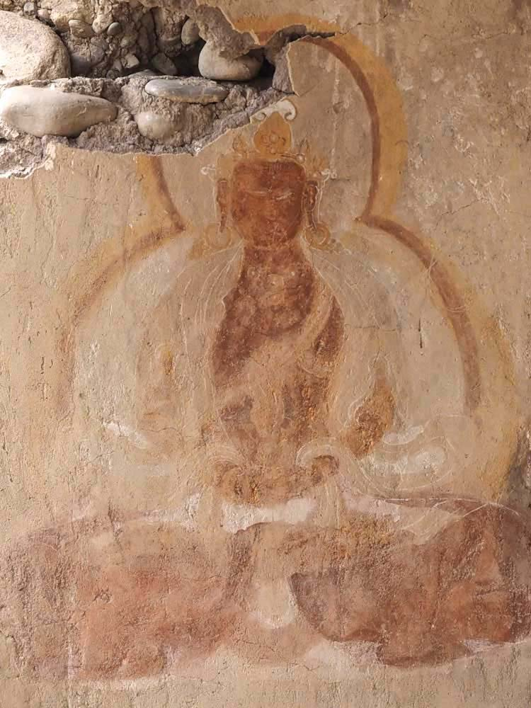 Cave painting of the Buddha, Saspol, Ladakh, India.