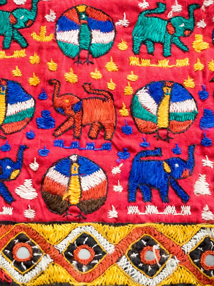 Red Embroidered Elephant Bedcover
