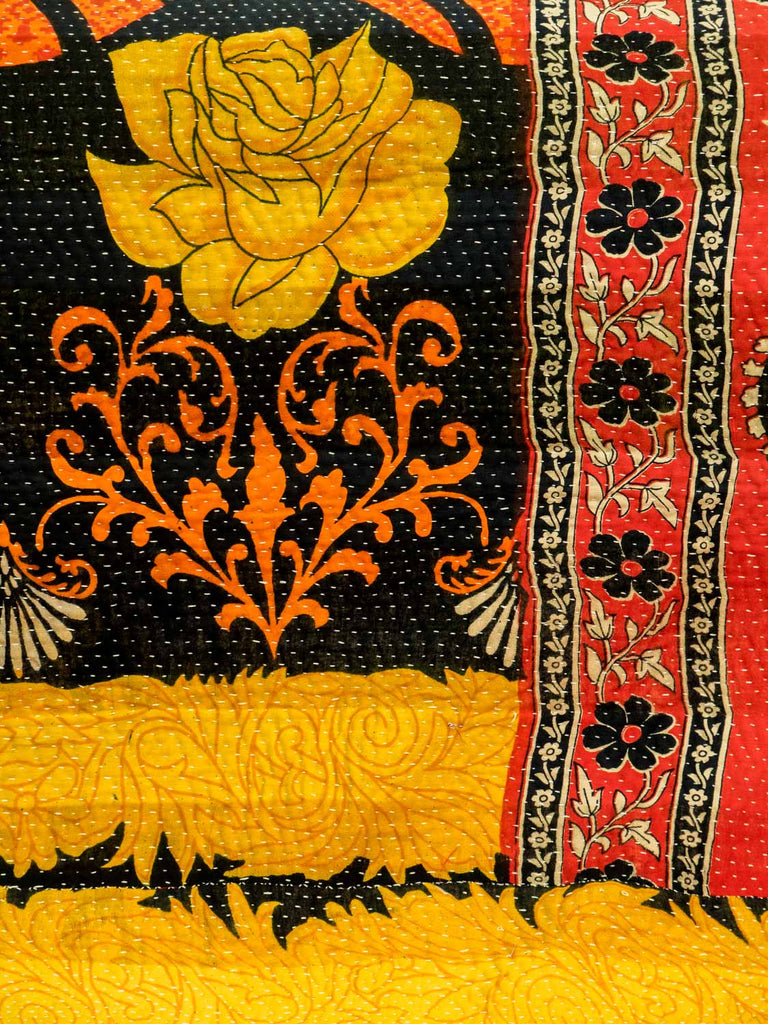 Vintage Kantha Quilt with Large Golden Flowers