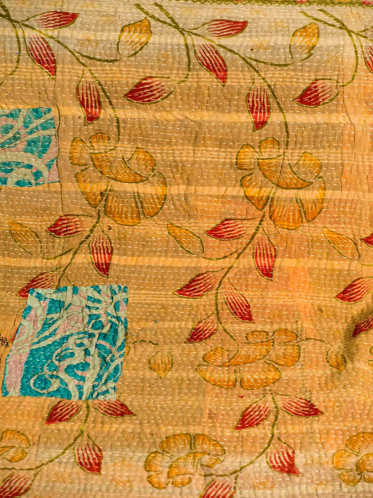 Golden Yellow and Cerise Vintage Kantha Quilt