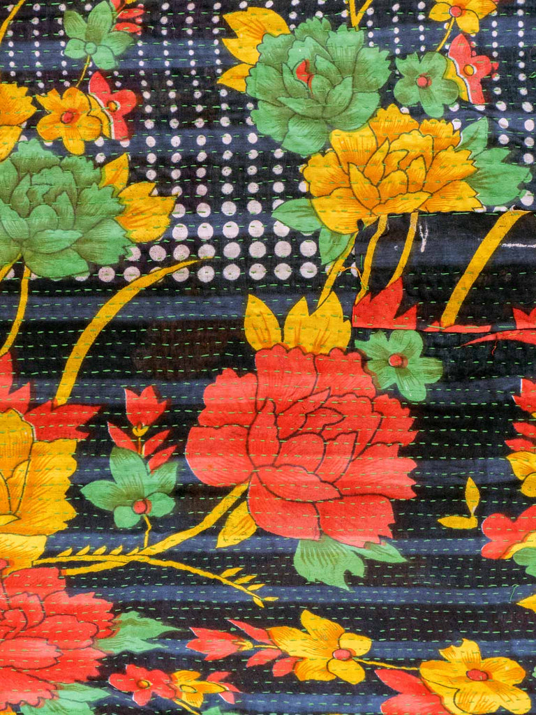Multicoloured Kantha Quilt with Red Gold Flowers