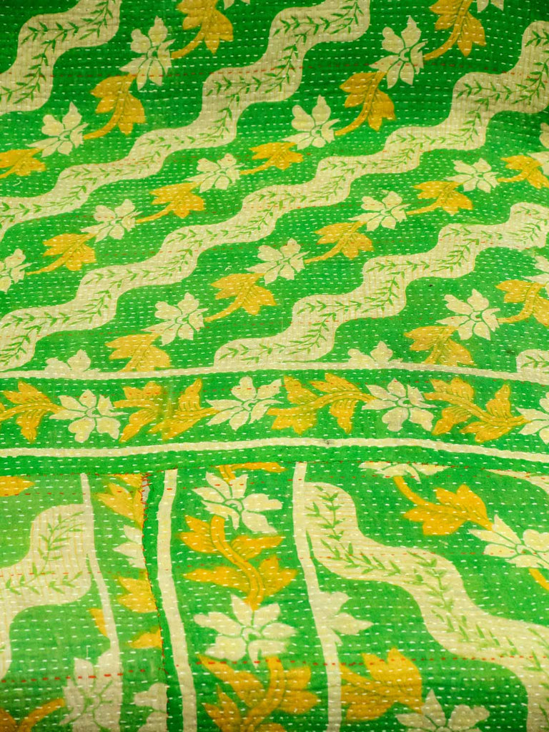 Green and Pink Reversible Vintage Kantha Quilt