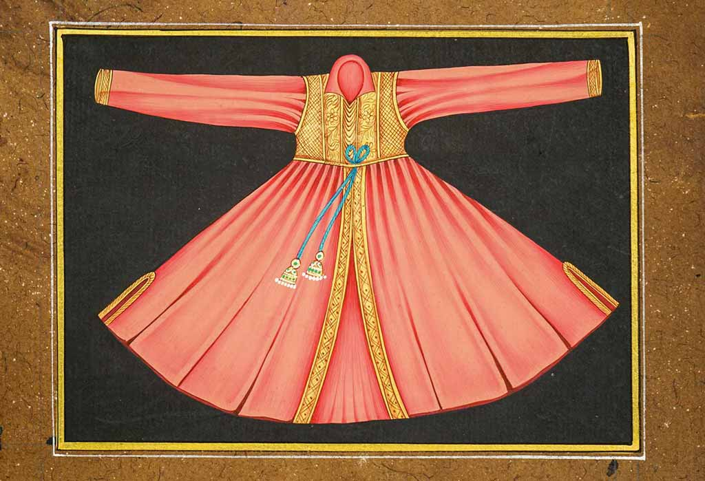 Mukesh Indian miniature painting of a pink dress
