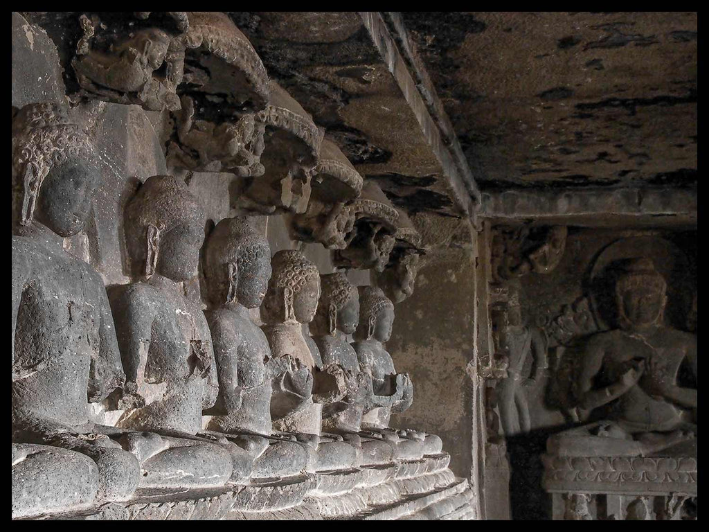 Row of Seated Buddhas at Cave 12 Ellora