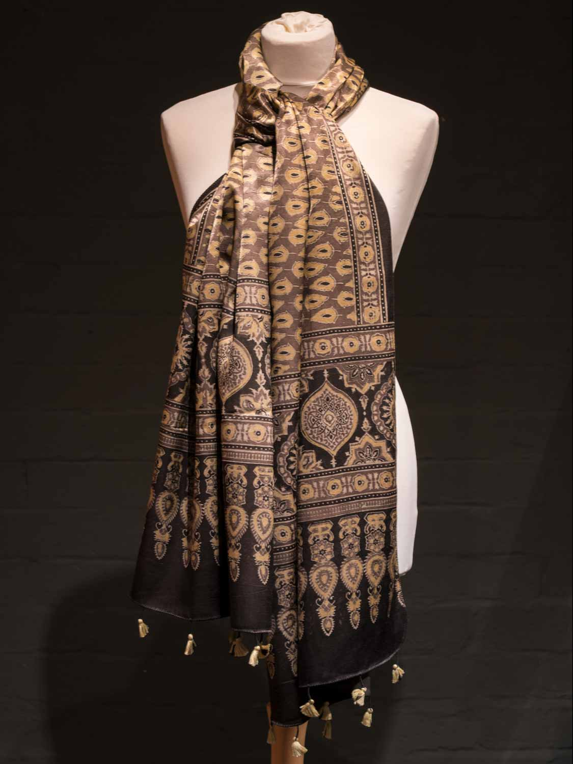 Coffee and Gold Satin Scarf