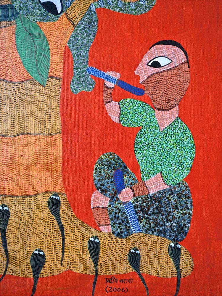 Gond Folk Art Painting of a Tree and Animals