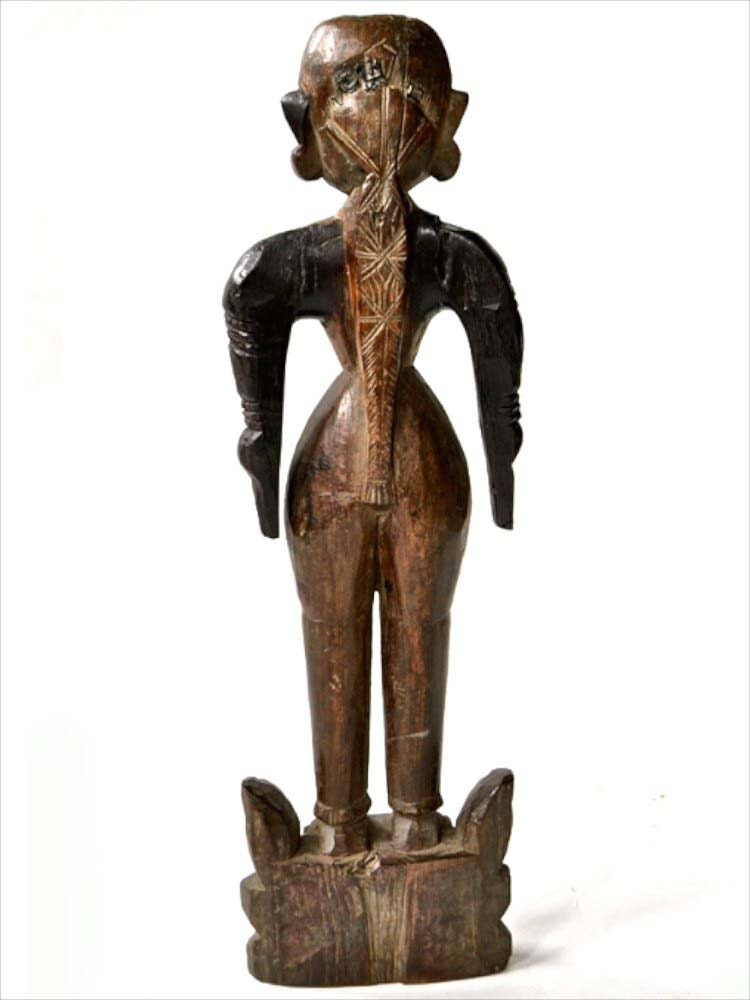 Carved Wooden Statue of a Young Woman