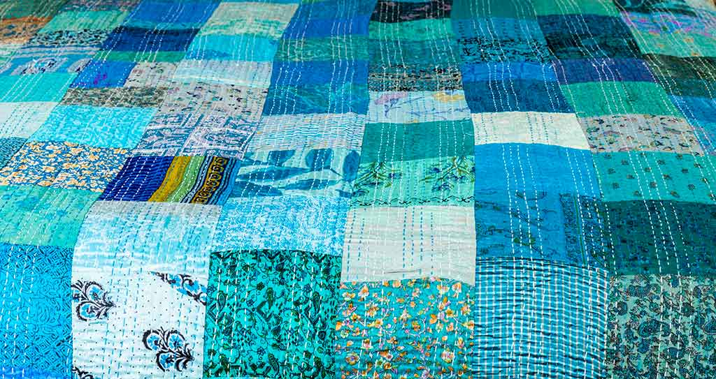 Kingfisher blue silk patchwork Indian bedspread