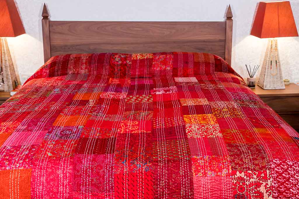 Red Silk Patchwork Indian Bedspread