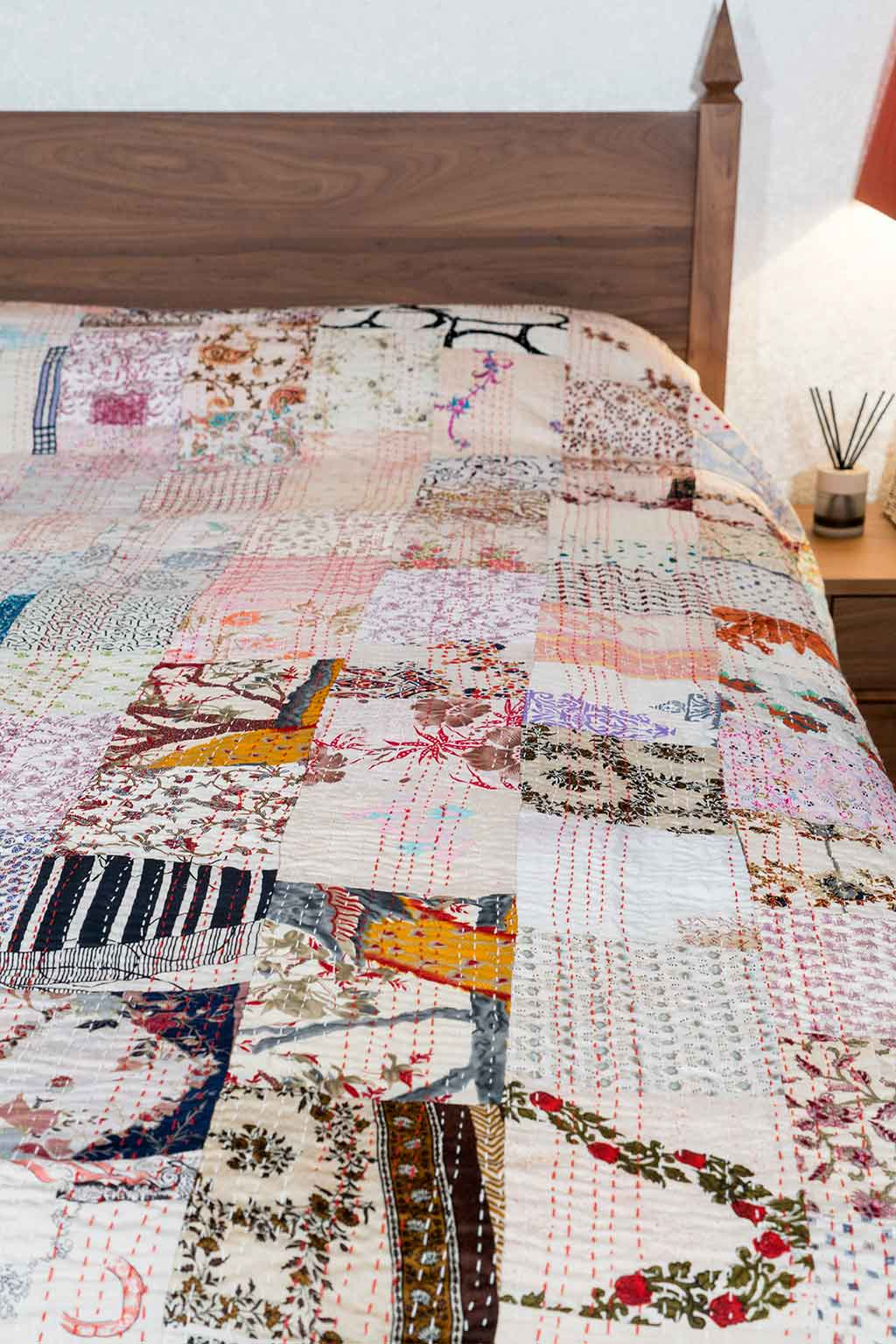 Silk Patchwork Indian Kantha Bedspread, White