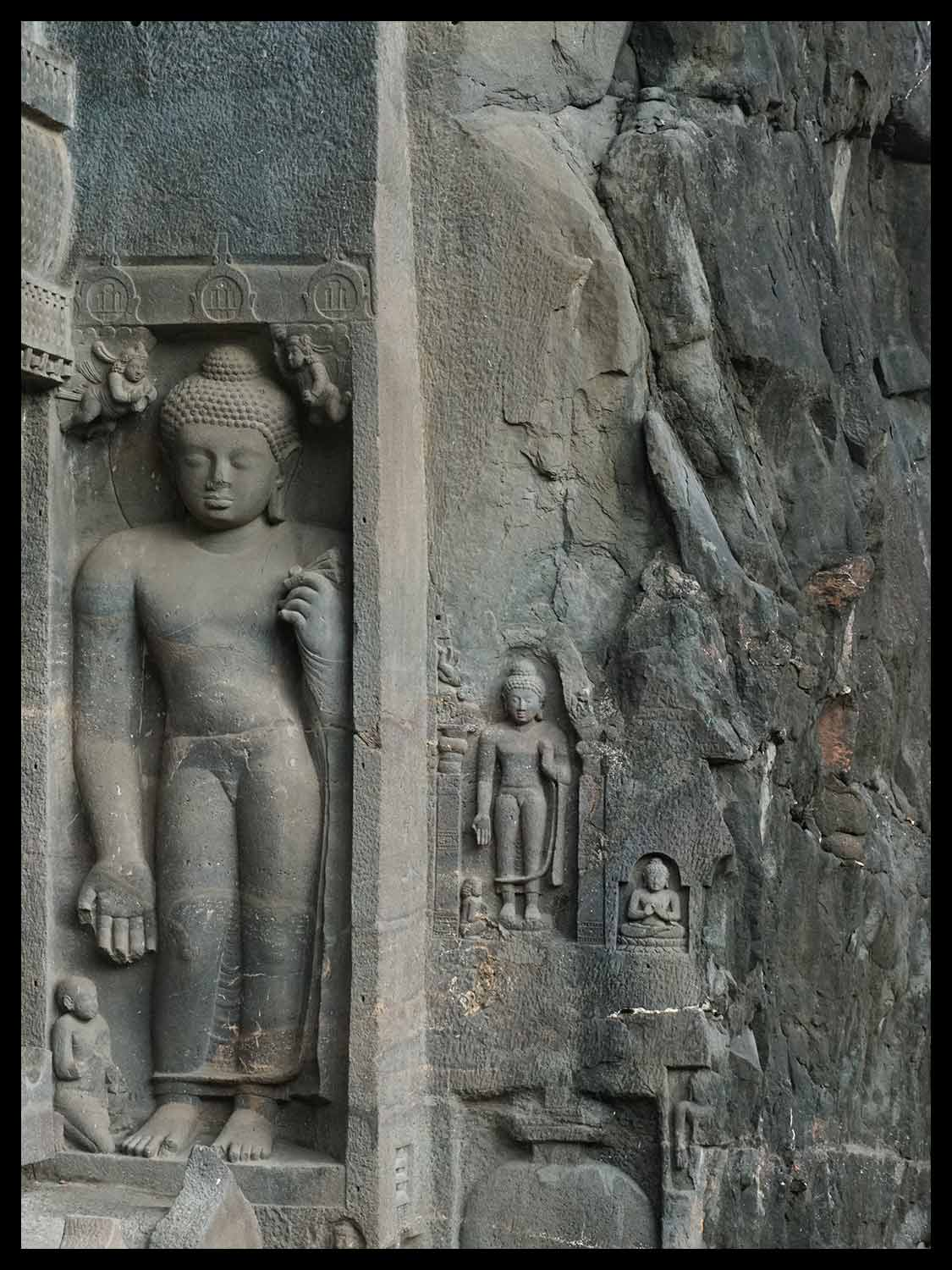 Standing Buddhas, entrance cave 19, Ajanta