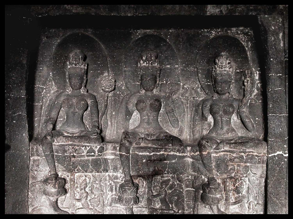 Three Green Tara, Cave 12, Ellora Caves, India
