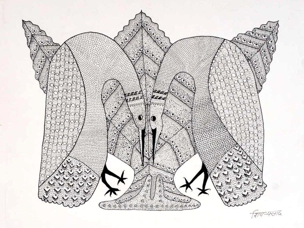 Gond Peacock Drawing