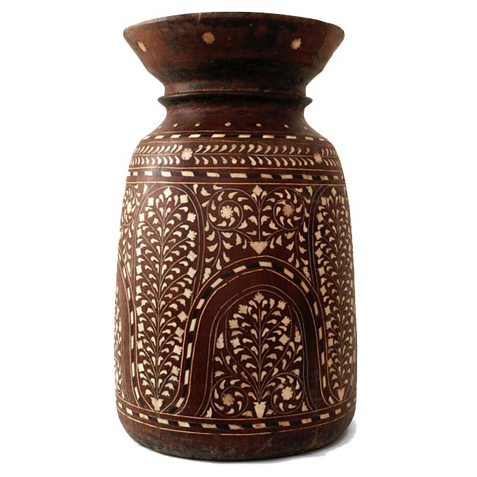 Inlaid Wooden Vase