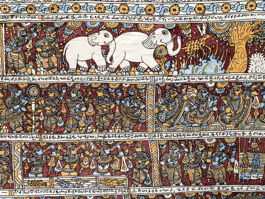 Details showing white elephants on a large Kalamkari Temple painting