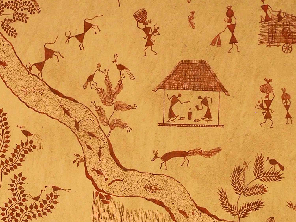 Warli painting on a wall