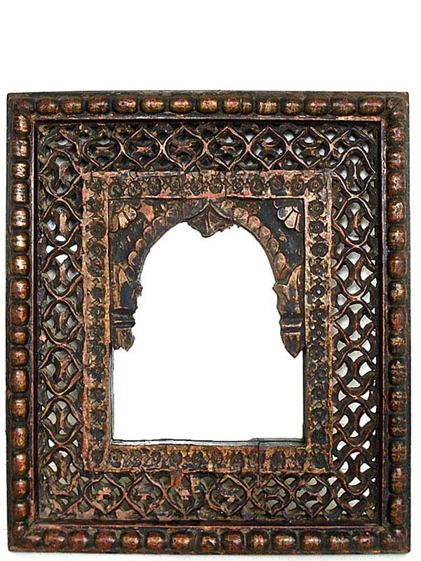 antique jali indian wooden mirror