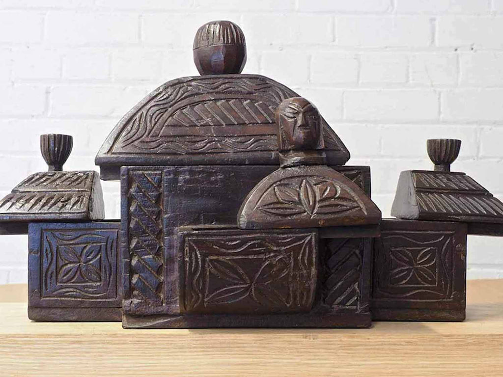 Carved Wooden Box with four Drawers