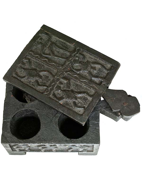 carved wooden indian makeup box