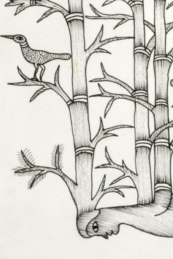 gond painting bamboo man