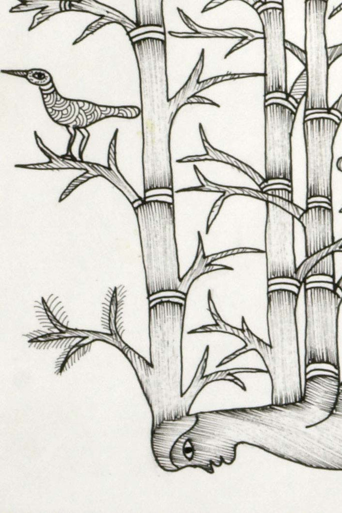 Gond Painting of a Bamboo Man