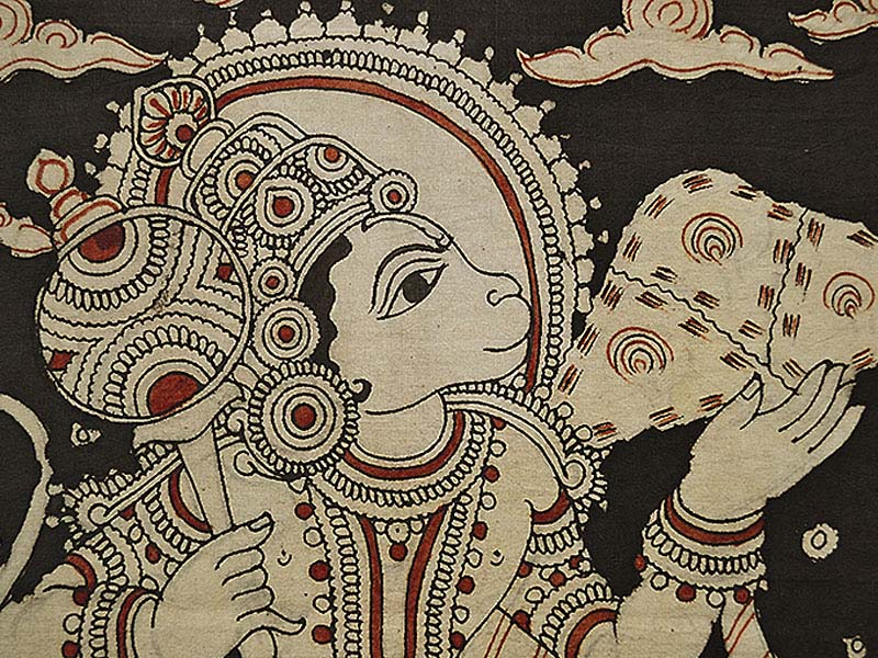 indian painting in kalamkari style of hanuman