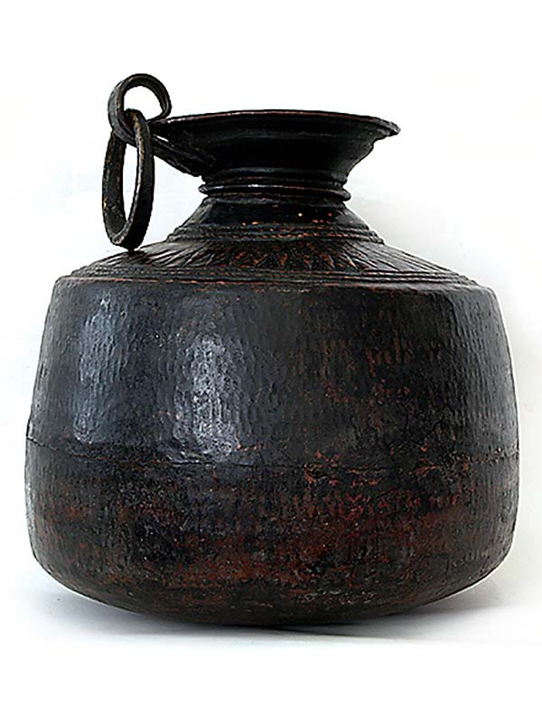 indian black copper pot