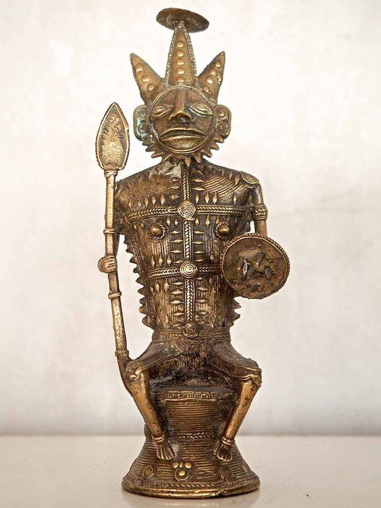 Brass Statue of a Tribal Warrior Chief