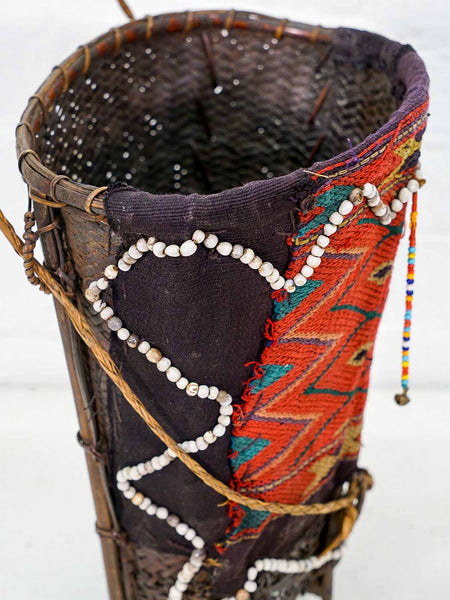 Basket with Woven Fabric and Beads from Nagaland
