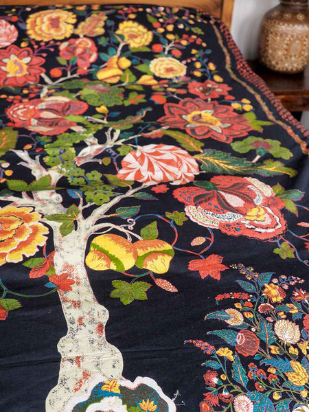 Black Printed Tree of Life Bedspread