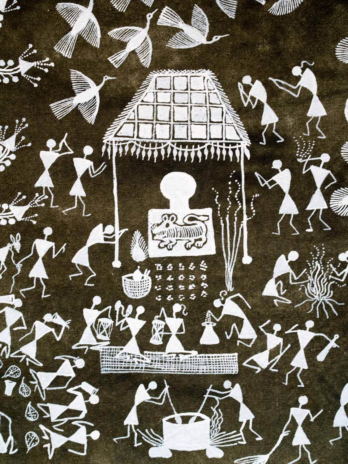 Dark Olive Warli Painting featuring a Tiger, detail