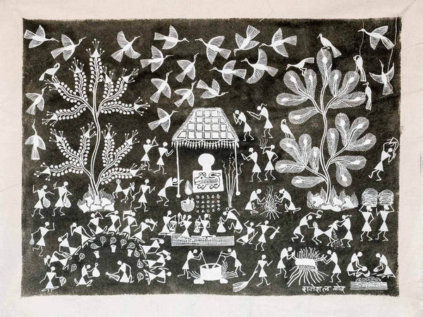 Dark Olive Warli Painting featuring a Tiger
