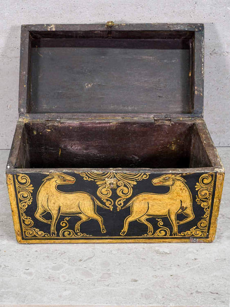 Black and gold painted Tibetan box